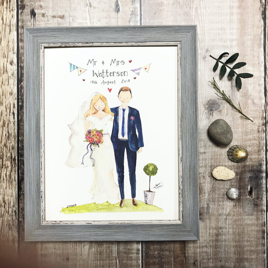 """Mr and Mrs Plain"" personalised Print"