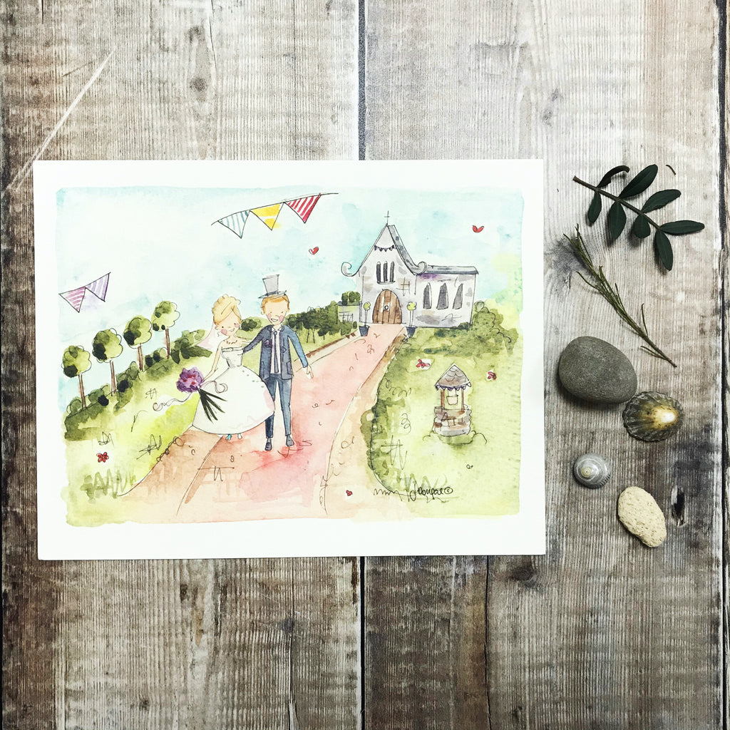 """Mr and Mrs Little Church Countryside"" personalised Print"