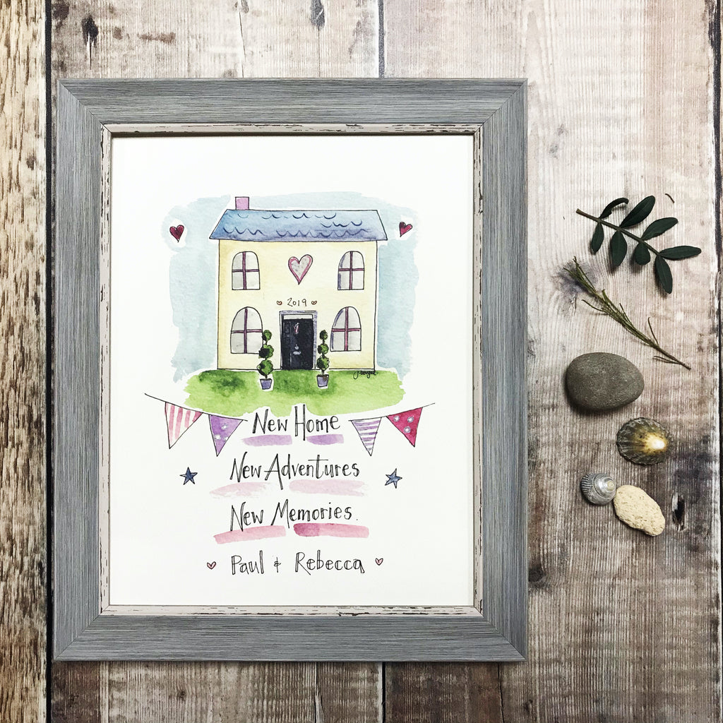 """New Home, New Adventures, New Memories"" Personalised Print"