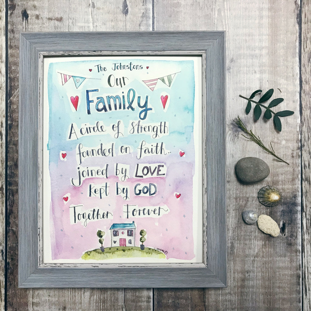 """Our Family Surrounded by Love"" Personalised Print"