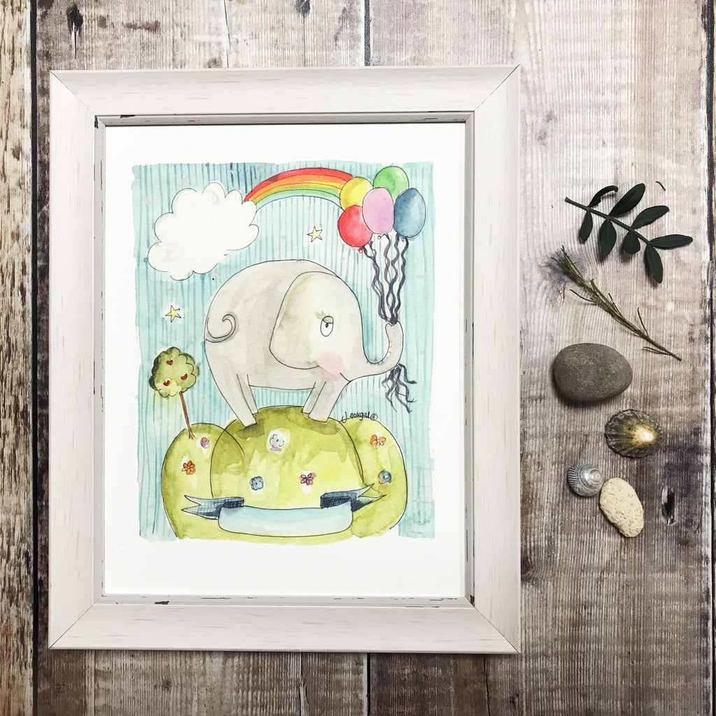 """Baby Boy Elephant"" Personalised Print"