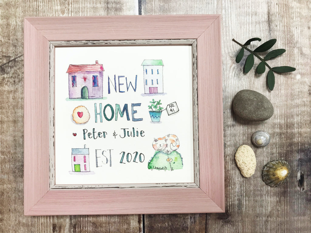 "Framed Print ""New Home Est"" can be personalised"