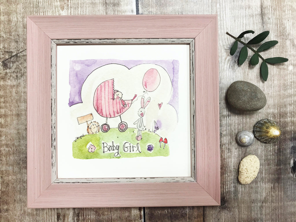 "Little Framed Print ""Baby Girl Pram"" can be personalised"