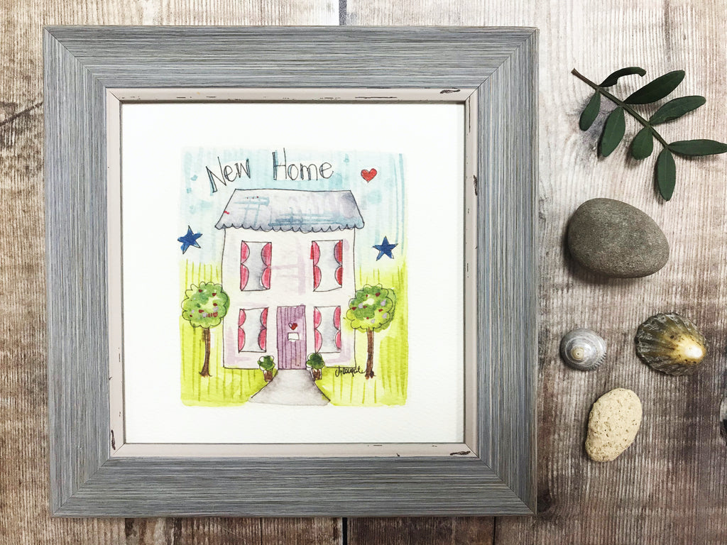 "Framed Print ""New Home"" can be personalised"