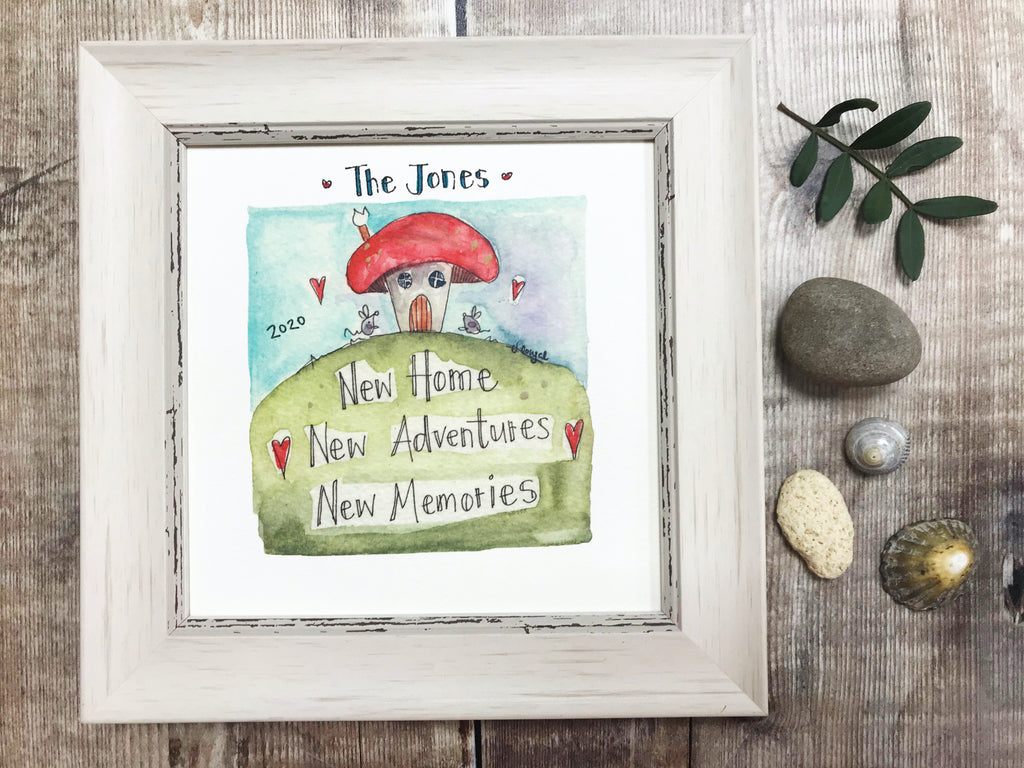 "Framed Print ""New Home Mushroom"" can be personalised"