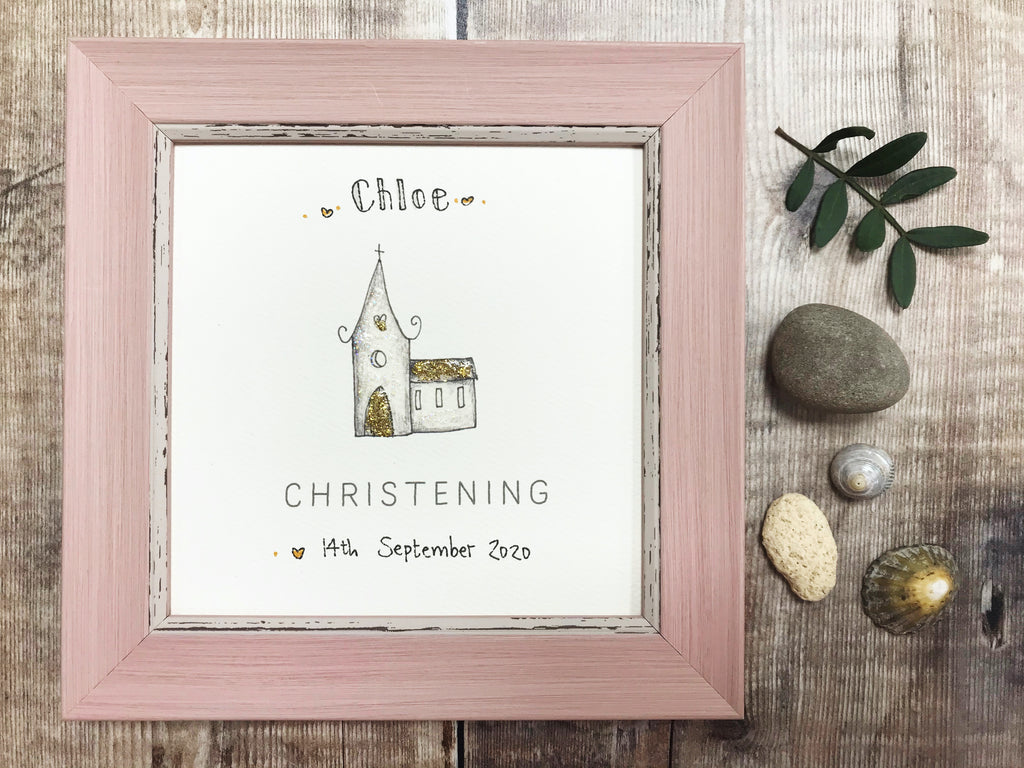 "Little Framed Print ""Glitter Christening Church"" can be personalised"