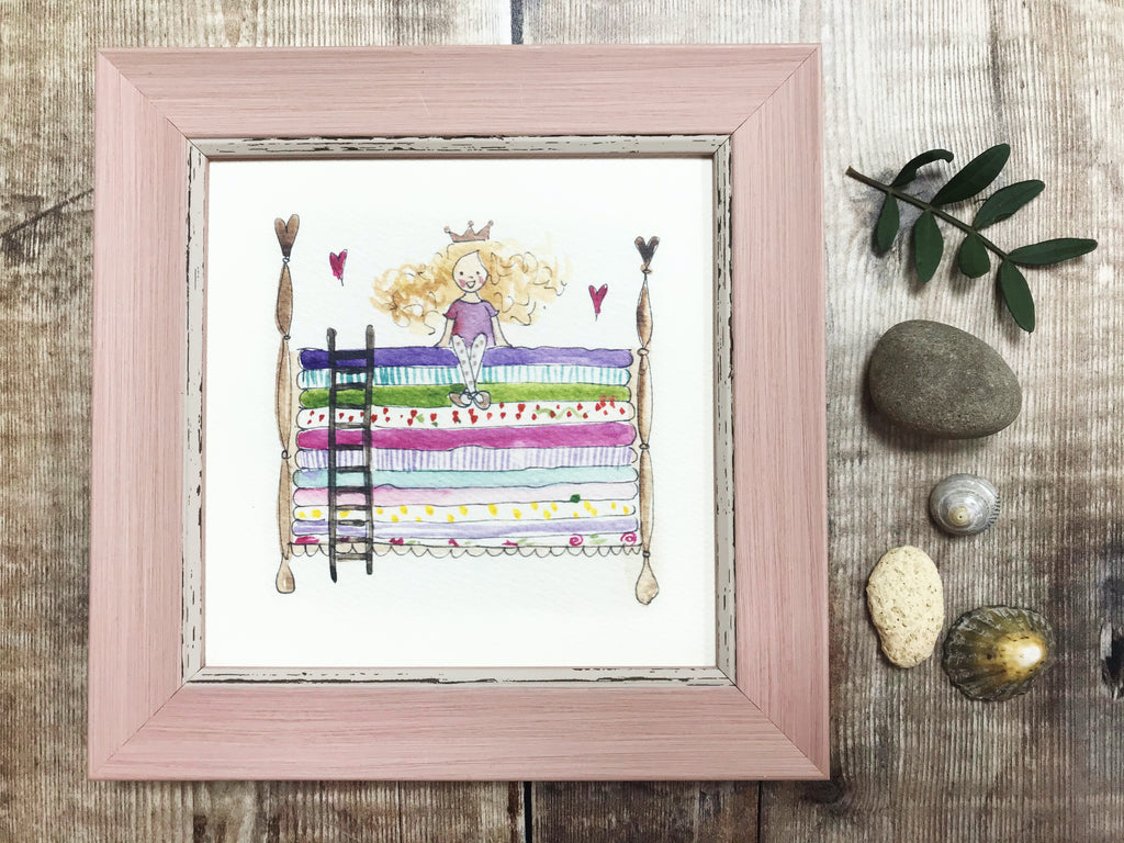 "Little Framed Print ""Princess and the Pea"" can be personalised"