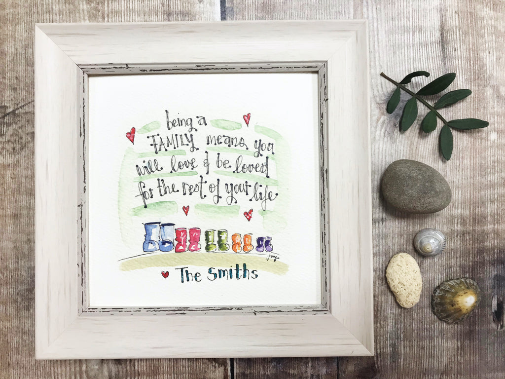 "Framed Print ""Family Wellies"" can be personalised"
