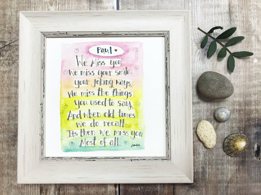 "Framed Print ""Miss You"" can be personalised"