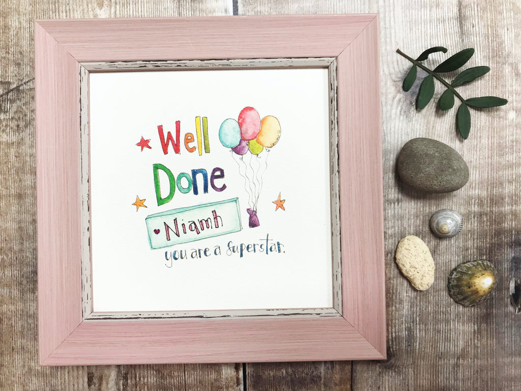 "Framed Print ""Well Done"" can be personalised"
