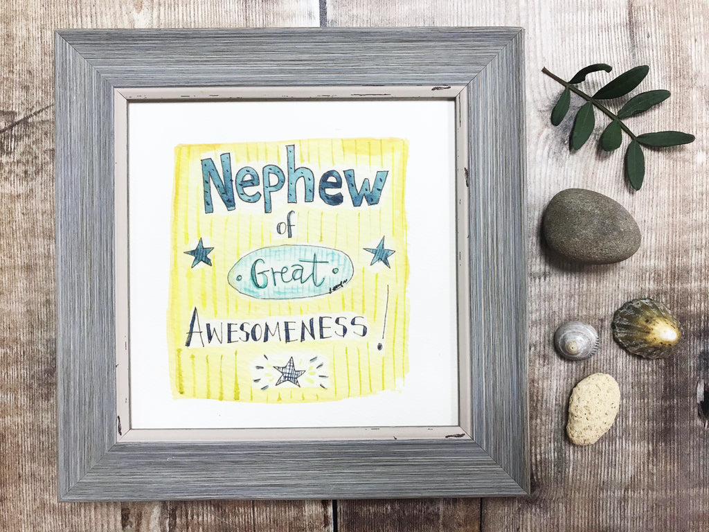 "Framed Print ""Awesome Nephew"" can be personalised"