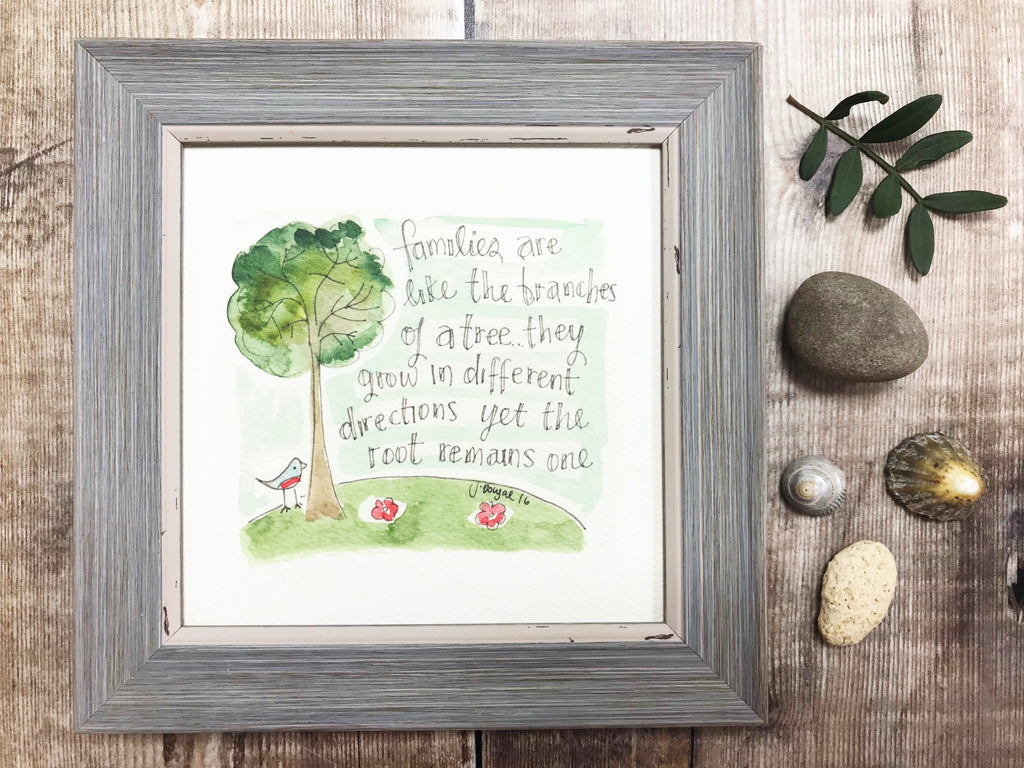 "Framed Print ""Familes are like the branches of a Tree"" can be personalised"