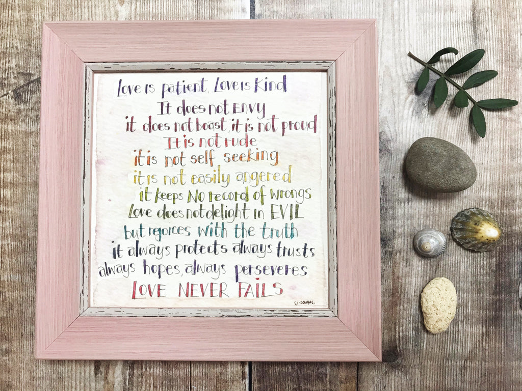 "Framed Print ""Love is Patient"" can be personalised"