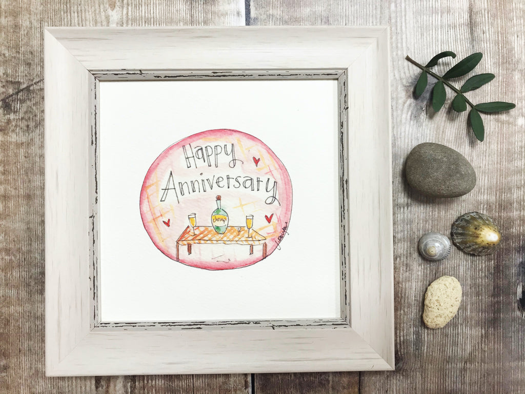 "Little Framed Print ""Happy Anniversary"" can be personalised"