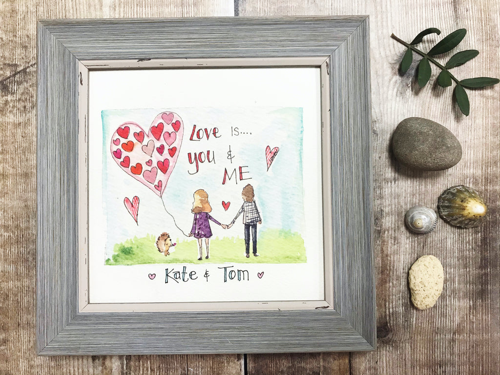 "Framed Print ""Love is You and Me"" can be personalised"