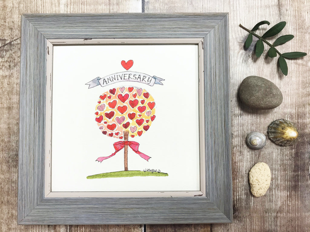 "Little Framed Print ""Anniversary Tree"" can be personalised"