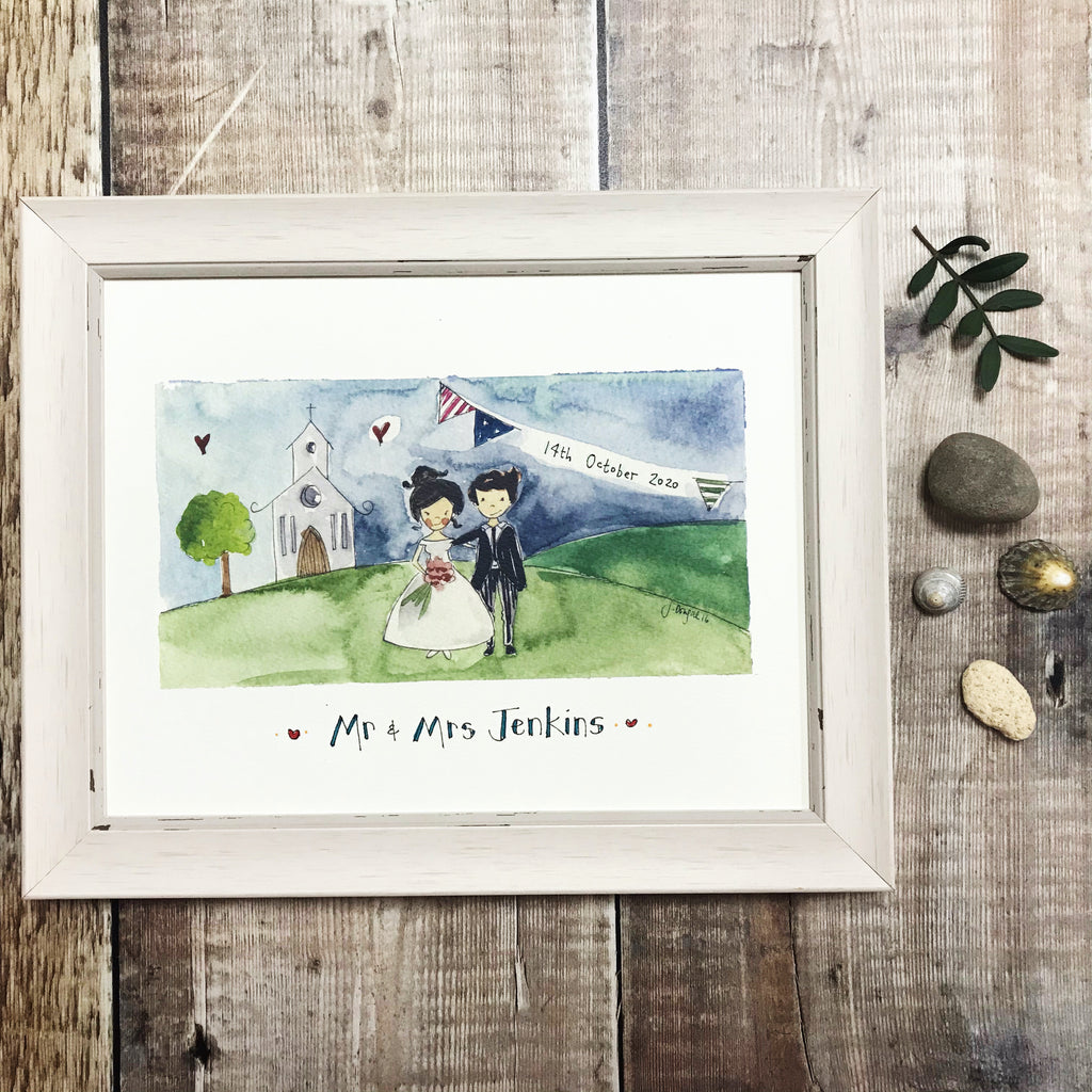 """Mr and Mrs Little Church"" personalised Print"