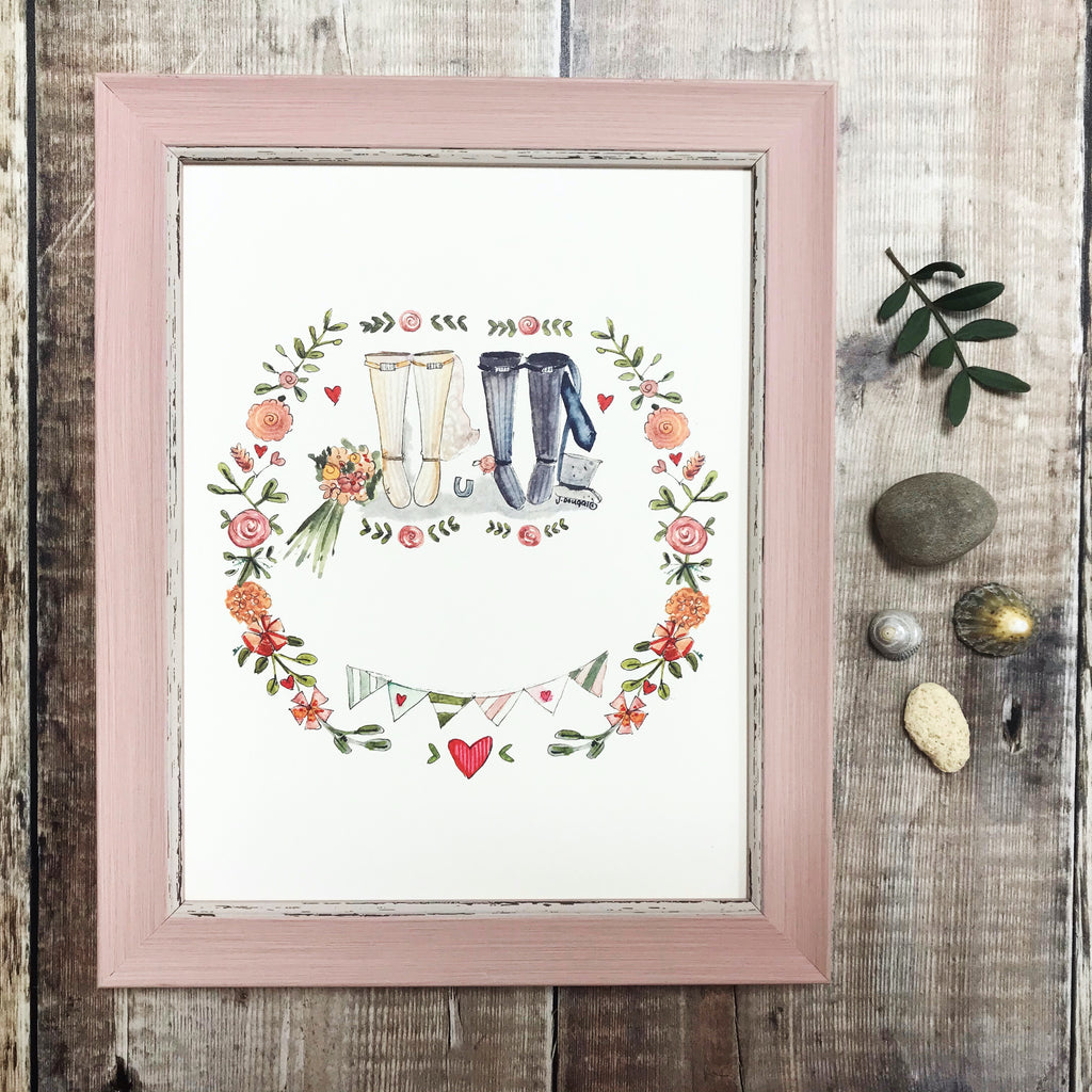 """Wedding Wellies"" personalised Print"