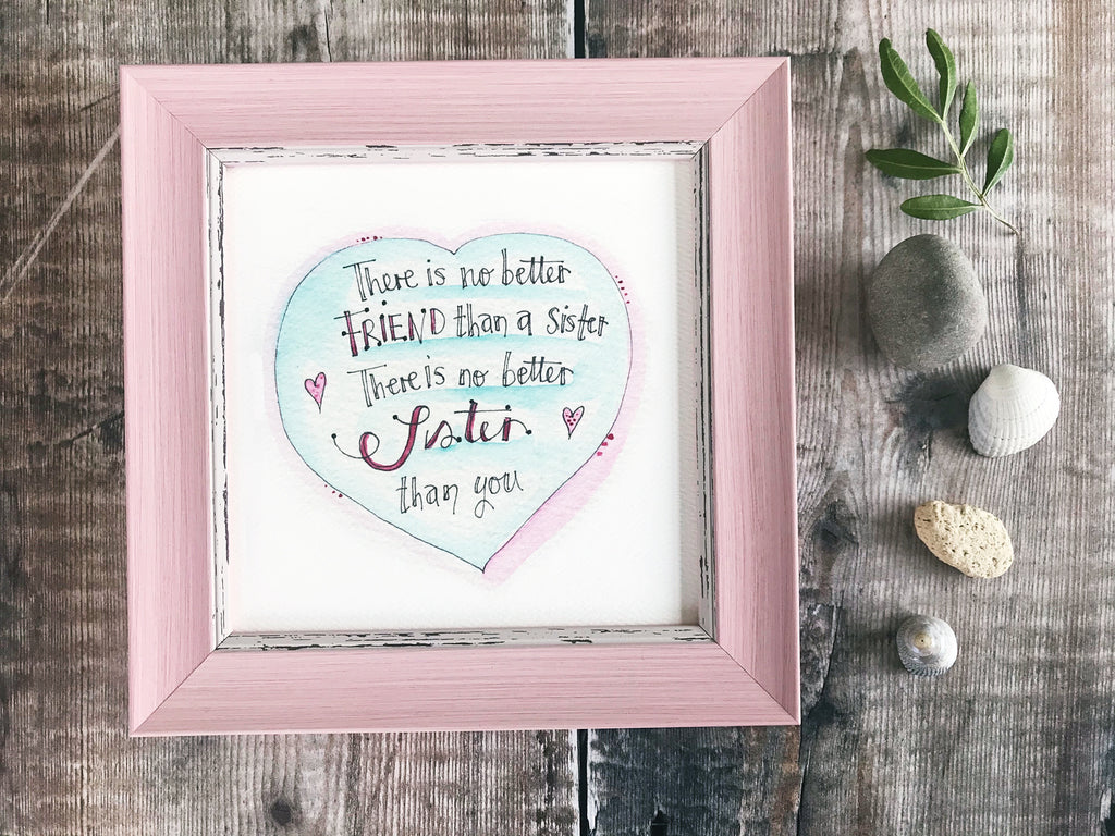 "Little Framed Print ""No Better Sister"" can be personalised"