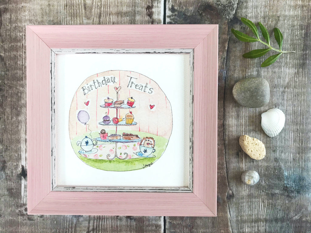 "Framed Print ""Happy Birthday Afternoon Tea"" can be personalised"