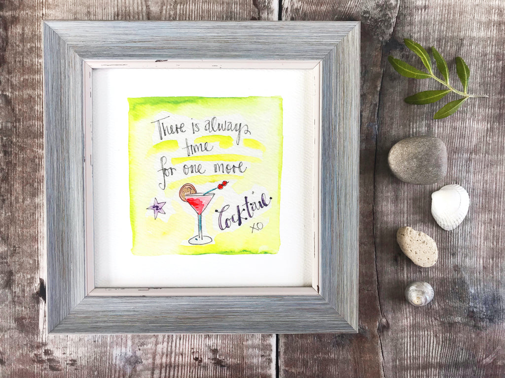 "Framed Print ""Always time for one more Cocktail"" can be personalised"