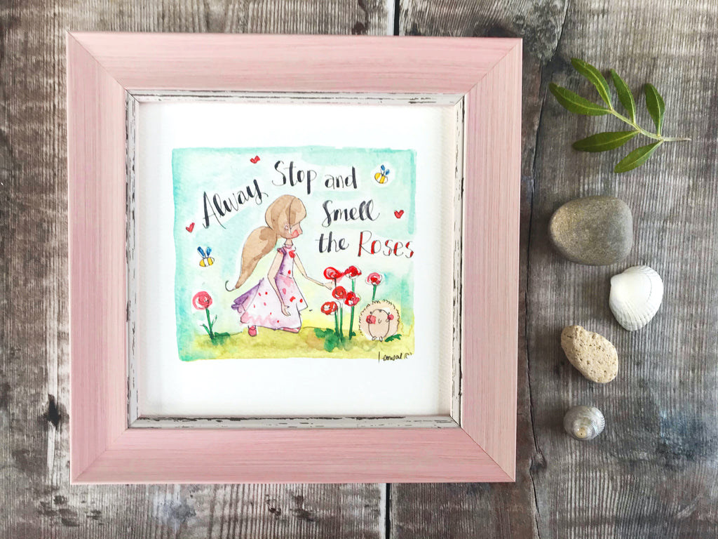 "Framed Print ""Always stop and smell the Roses"" can be personalised"