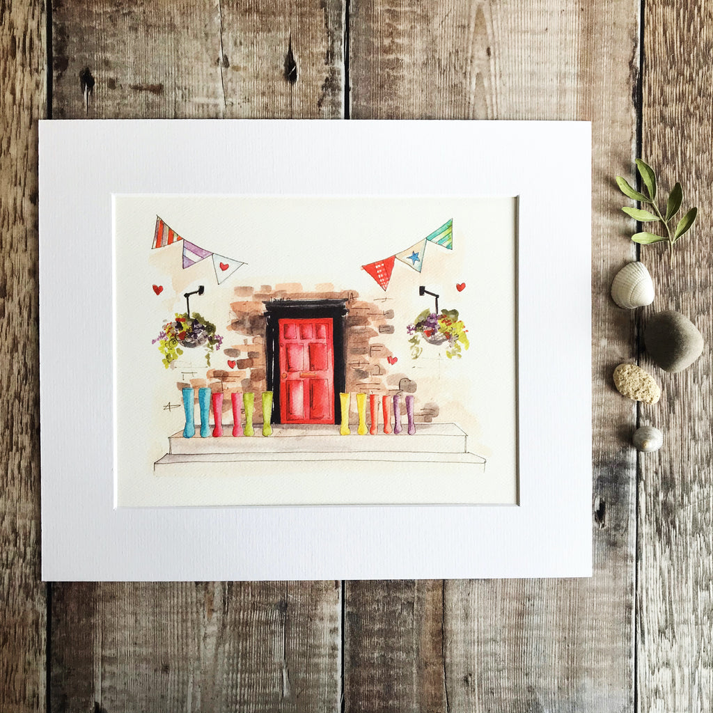 """Red Door 6 Wellies"" Personalised Print"