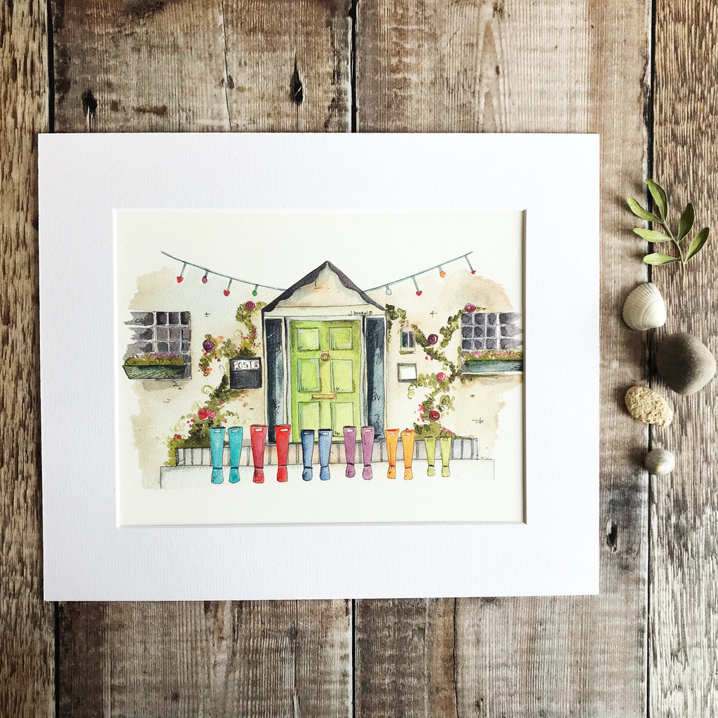"""Green Door 6 Wellies"" Personalised Print"