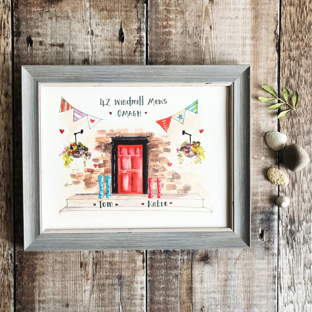 """Red Door 2 Wellies"" Personalised Print"