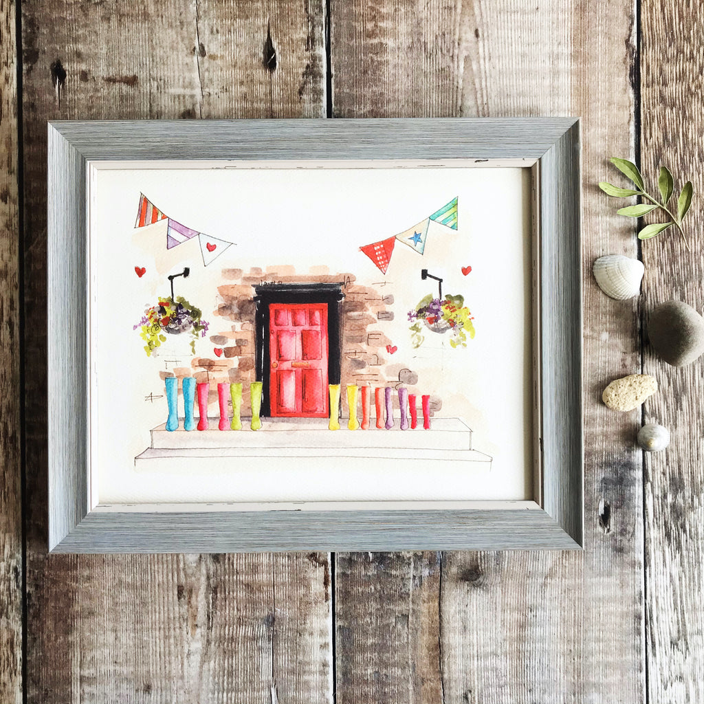 """Red Door 7 Wellies"" Personalised Print"