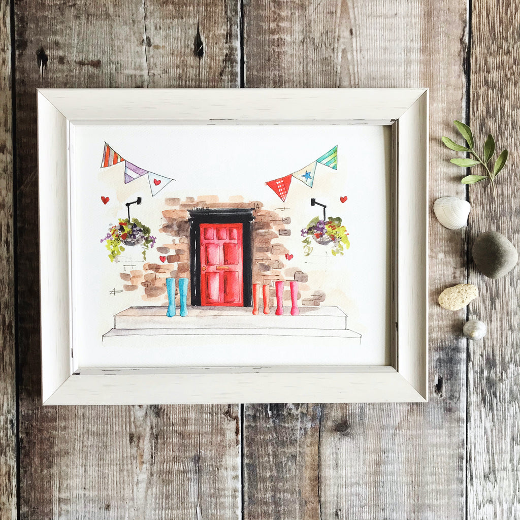 """Red Door 3 Wellies"" Personalised Print"