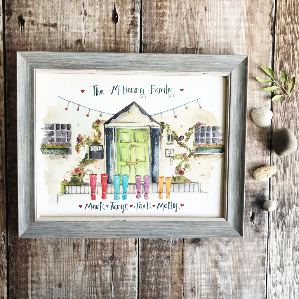 """Green Door 4 Wellies"" Personalised Print"