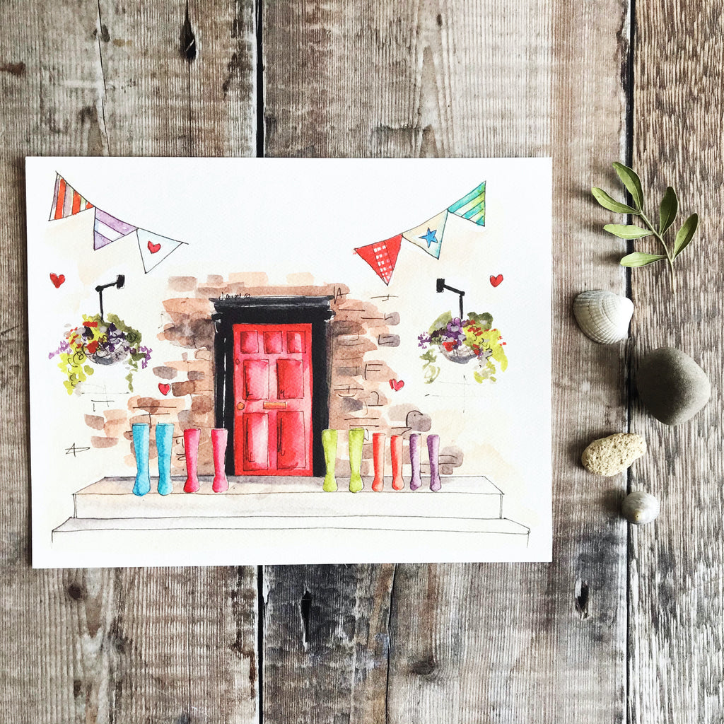 """Red Door 5 Wellies"" Personalised Print"