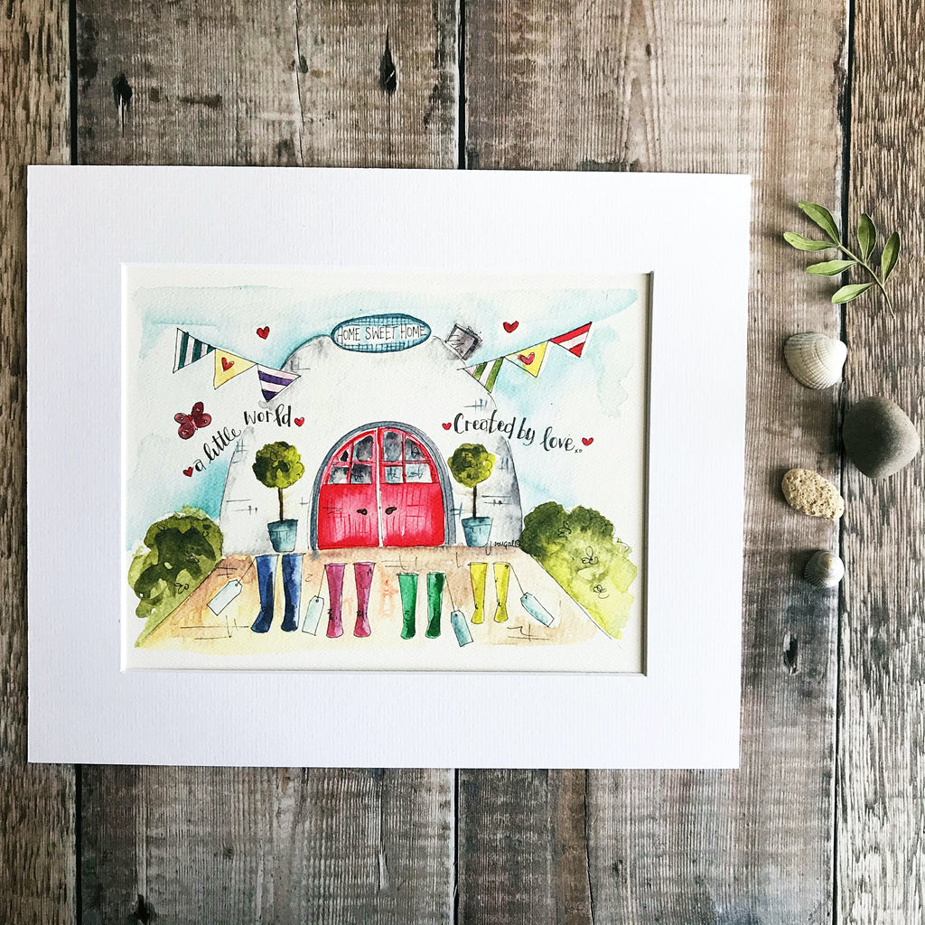 """4 Wellies A little World created by Love"" Personalised Print"
