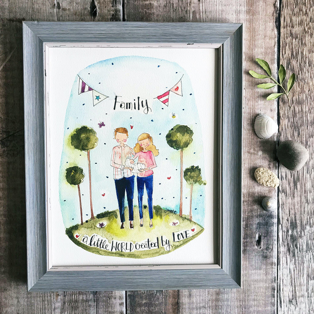 """New Family"" Personalised print."