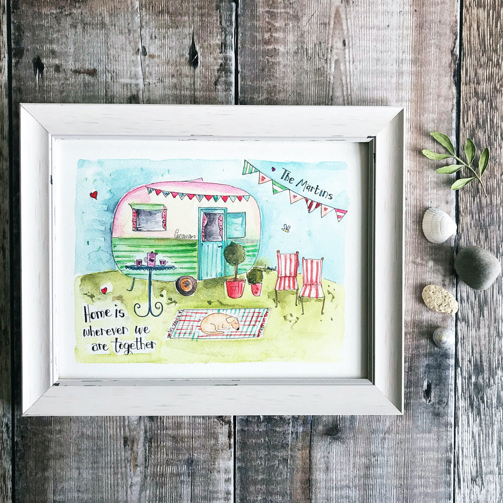 """Caravan Home"" Personalised Print"
