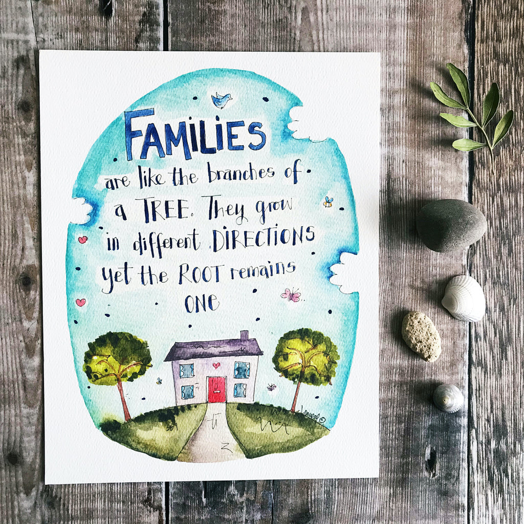 """Familes are like the Brances of A Tree"" Personalised Print"