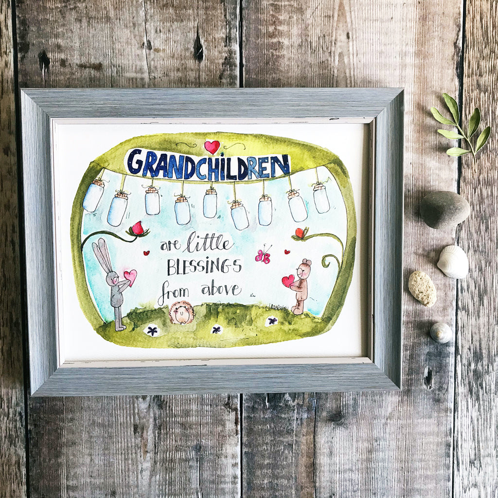 """Grandchildren are Little Blessings"" Personalised Print"