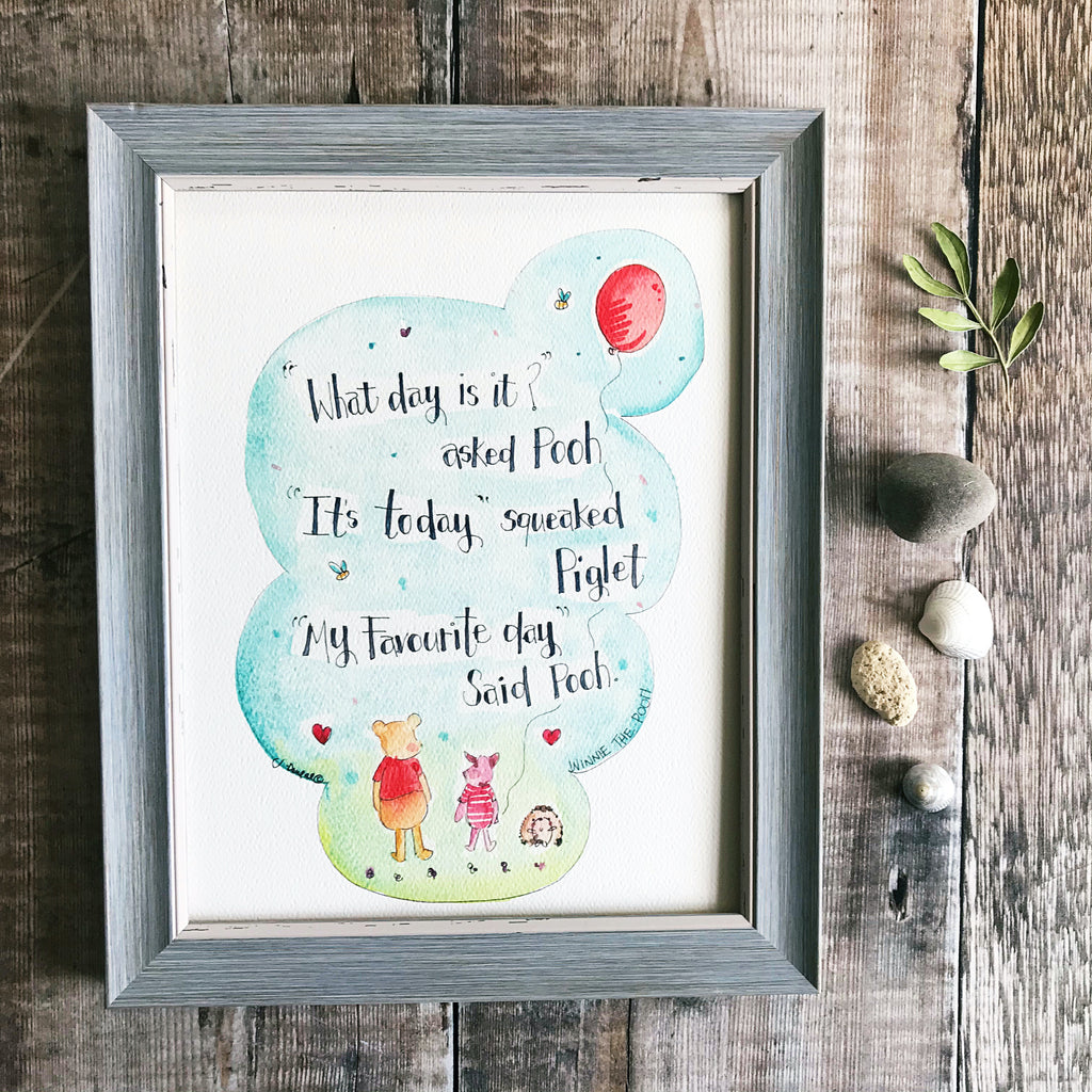 """Winnie the Pooh, What Day is it"" Personalised Print"