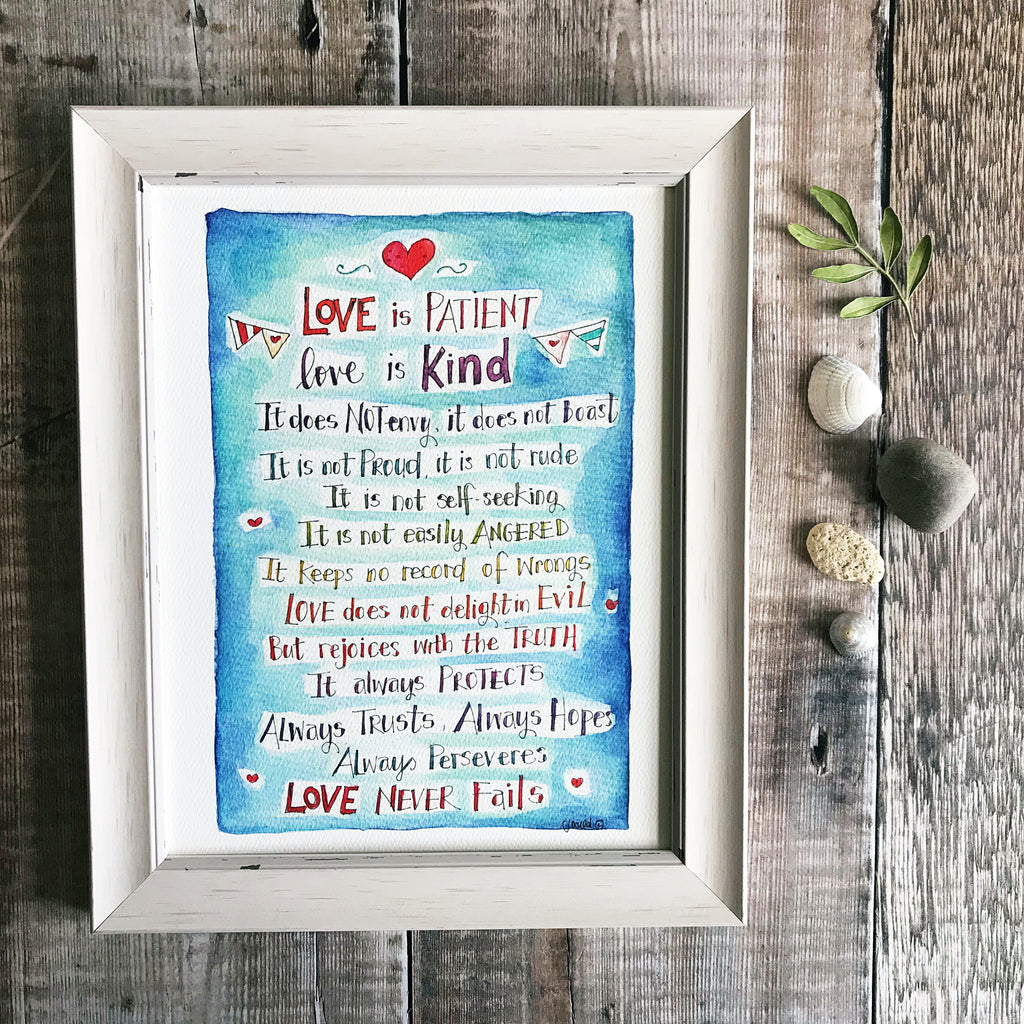 """Love is Patient"" personalised print"