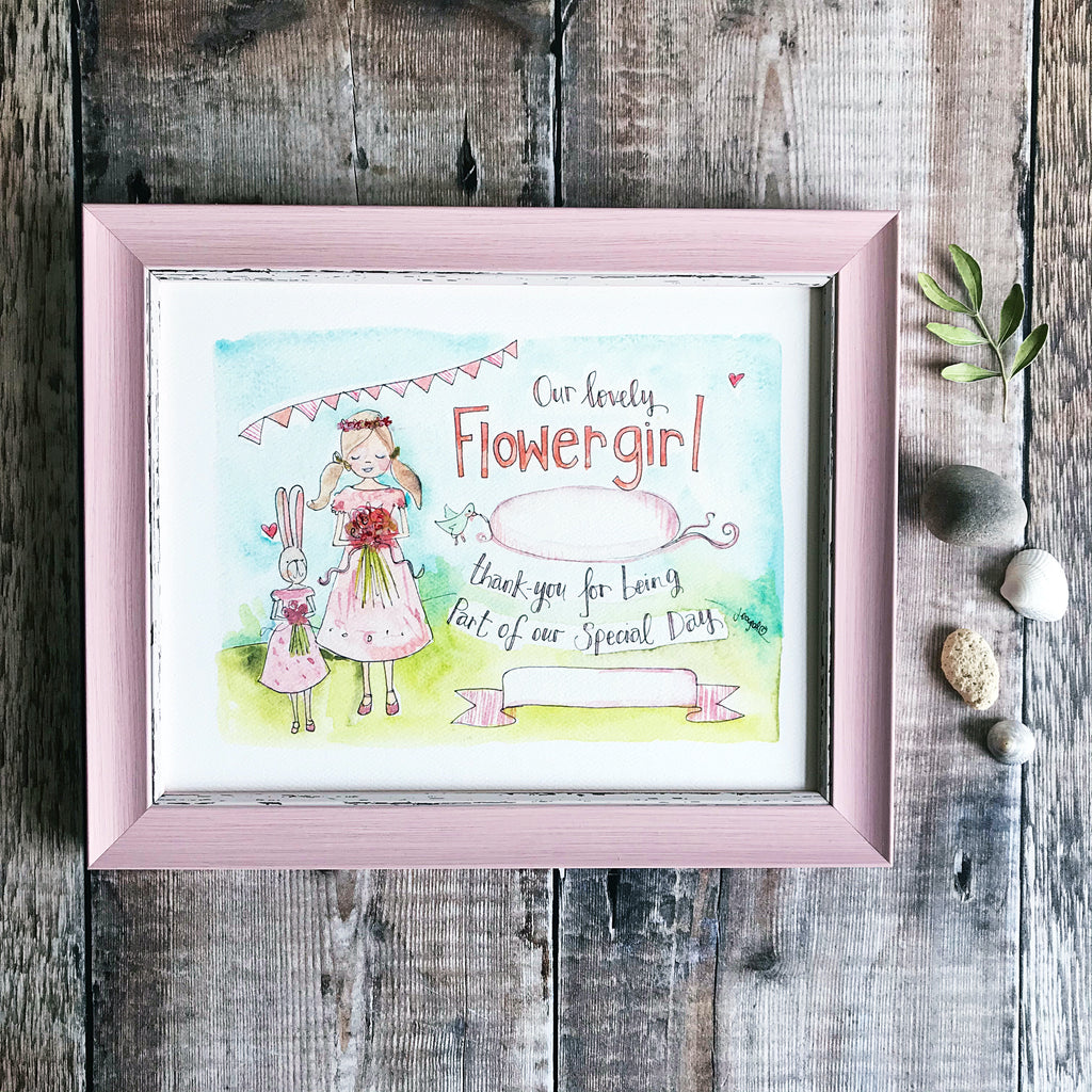 """Flower Girl"" personalised print"