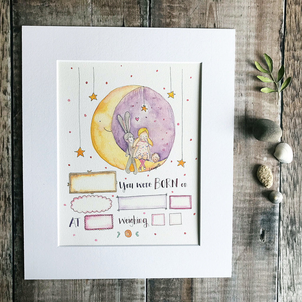 """Baby Girl Moon"" Personalised Print"