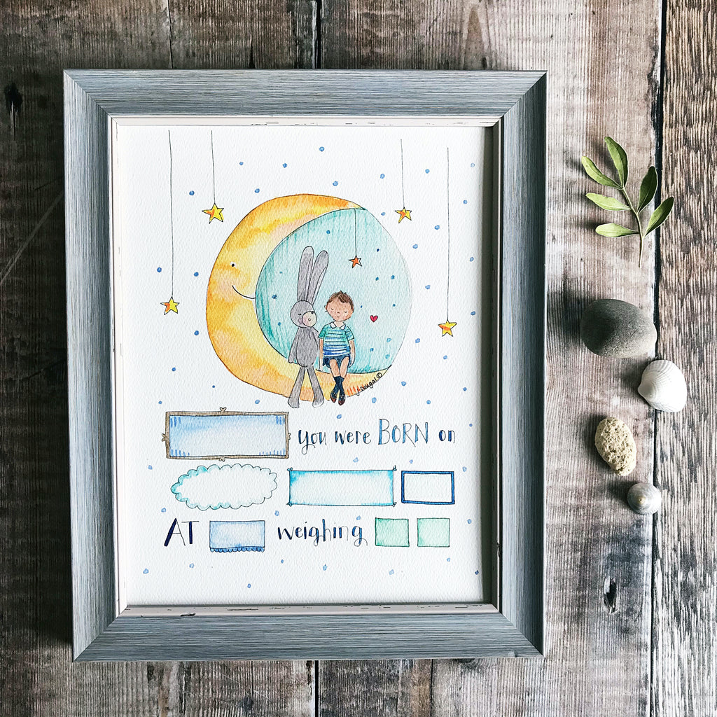 """Baby Boy Moon"" Personalised Print"