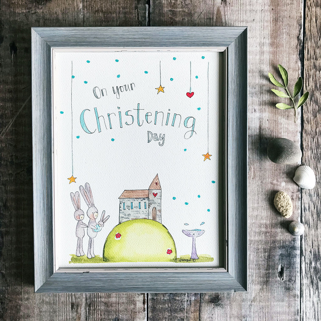 """Christening Boy"" Personalised Print"