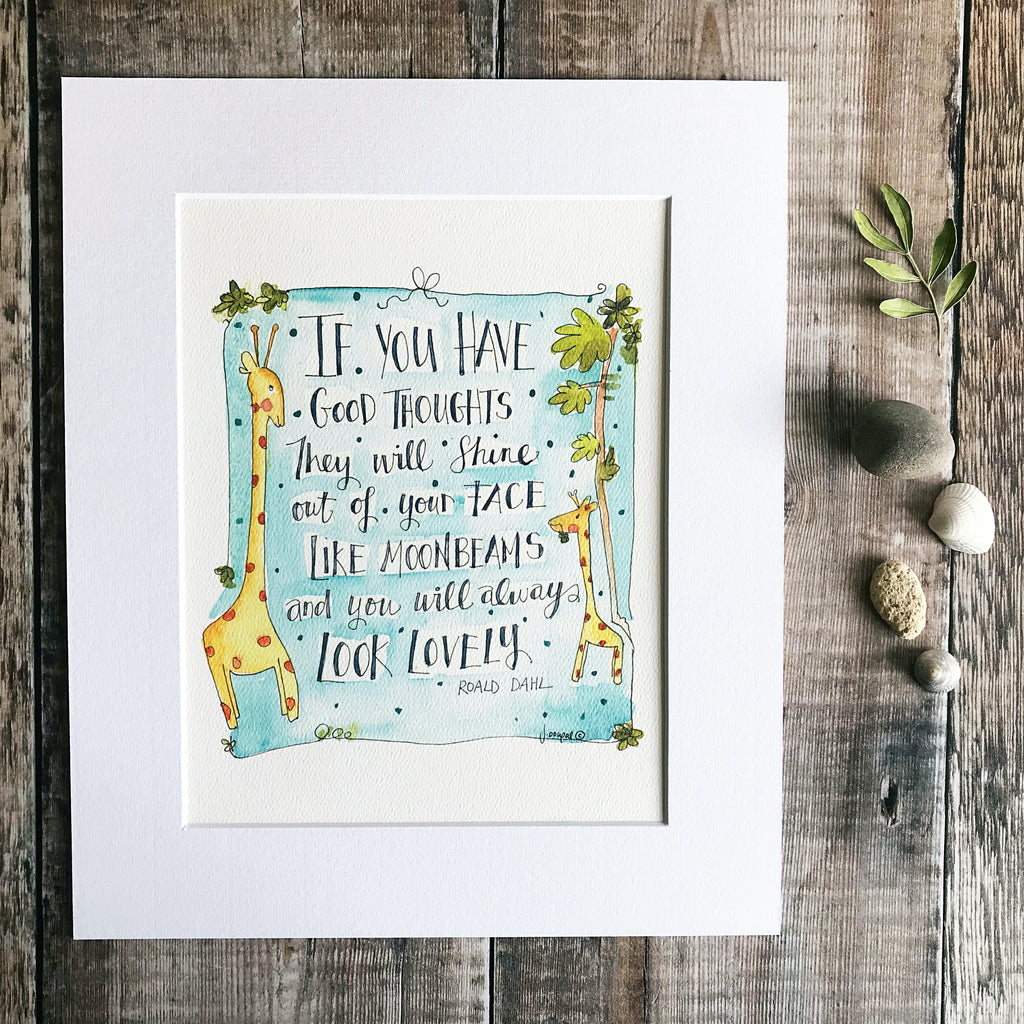 """Roald Dahl If you have Good Thoughts "" Personalised Print"