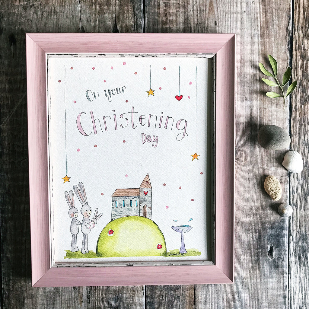 """Christening Girl"" Personalised Print"