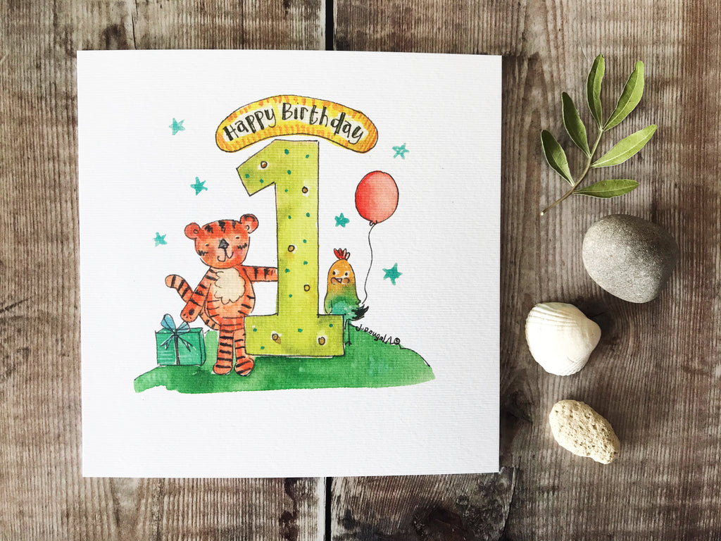 First Birthday Tiger Card - Personalised