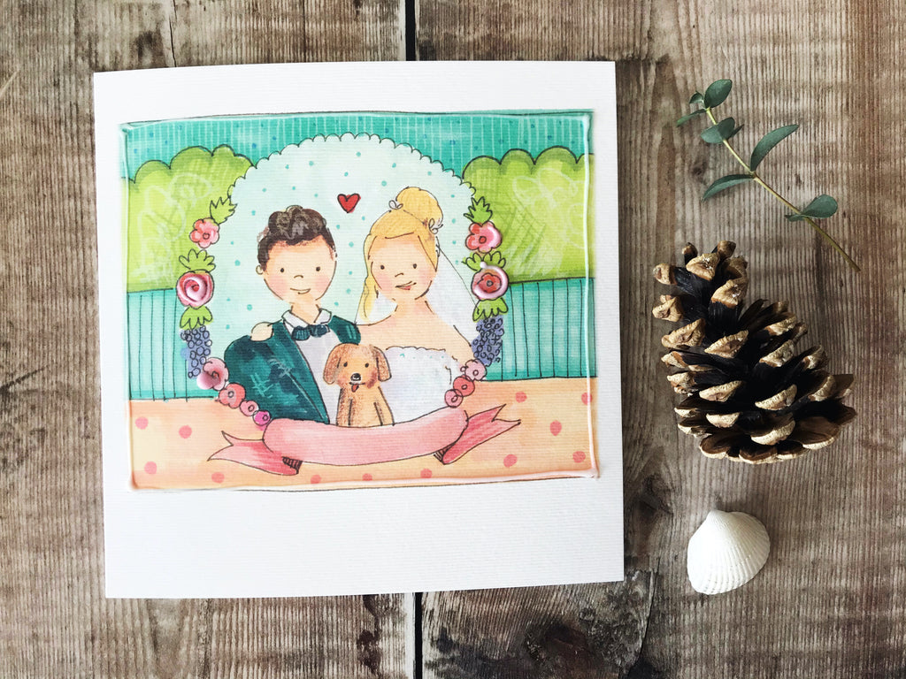 Bride and Groom with Dog Card- Personalised
