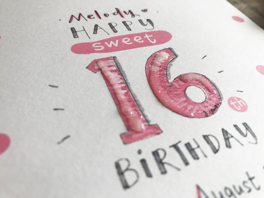 Happy Sweet 16th Birthday Card - Personalised