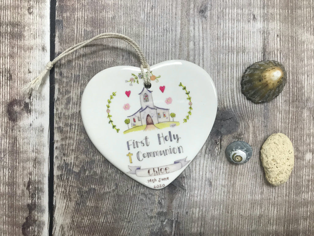 First Holy Communion Little Church Ceramic Heart